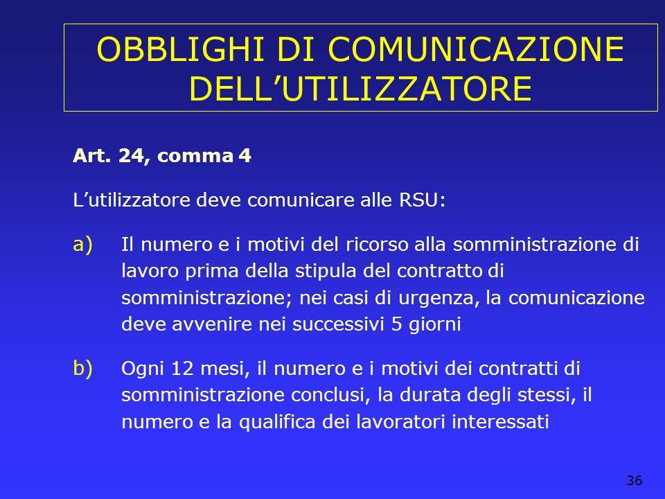 OBBLIGHI DI COMUNICAZIONE DELL'UTILIZZATORE
