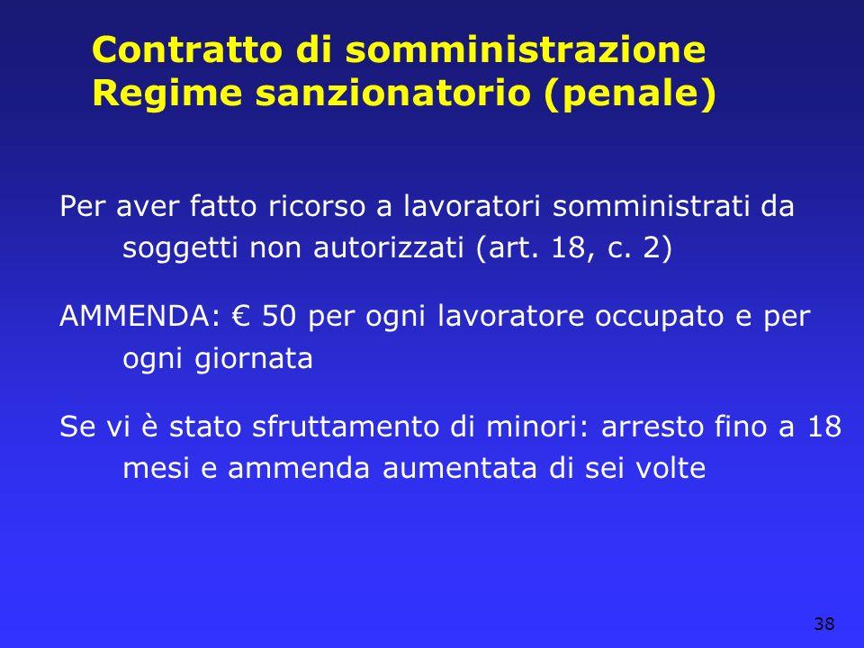 Contratto di somministrazione Regime sanzionatorio (penale)