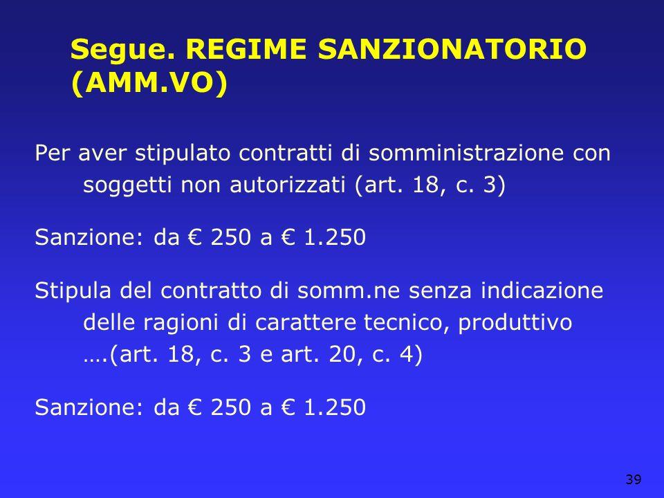 Segue. REGIME SANZIONATORIO (AMM.VO)