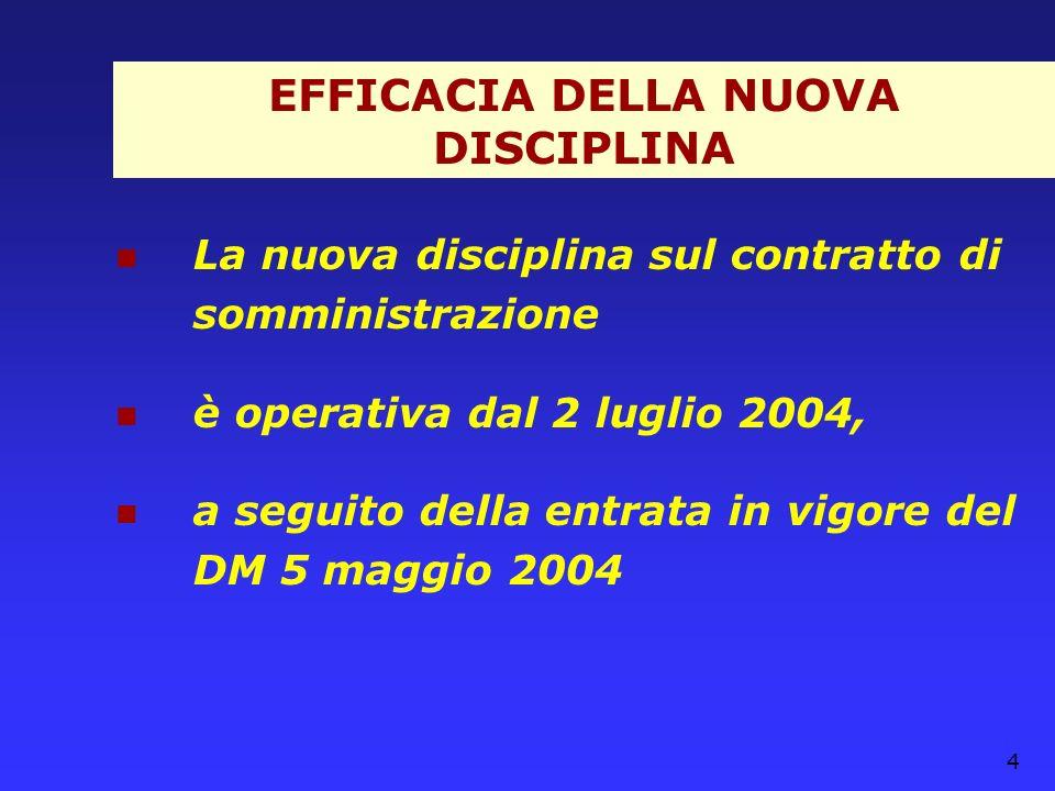 EFFICACIA DELLA NUOVA DISCIPLINA