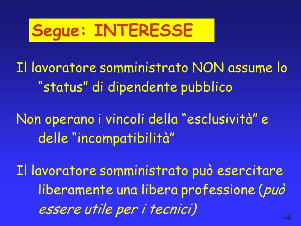 Segue: INTERESSE Il lavoratore somministrato NON assume lo status di dipendente pubblico.