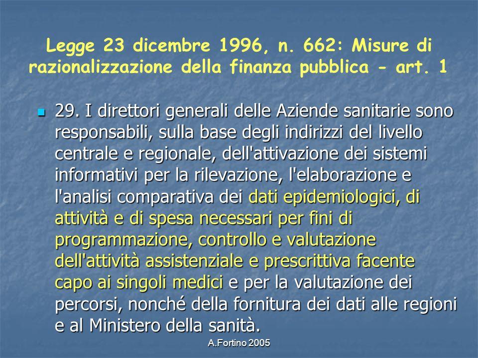 Legge 23 dicembre 1996, n. 662: Misure di razionalizzazione della finanza pubblica - art. 1