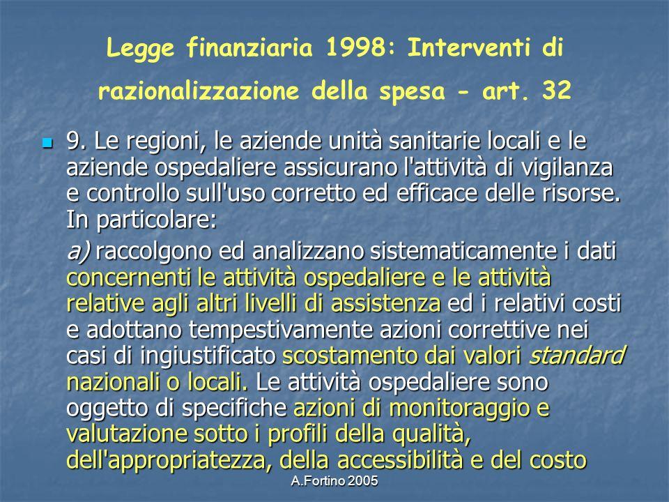Legge finanziaria 1998: Interventi di razionalizzazione della spesa - art. 32