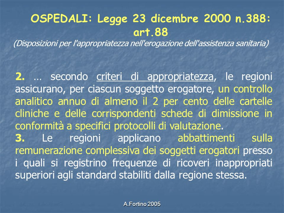 OSPEDALI: Legge 23 dicembre 2000 n.388: art.88