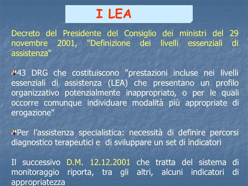 I LEA Decreto del Presidente del Consiglio dei ministri del 29 novembre 2001, Definizione dei livelli essenziali di assistenza
