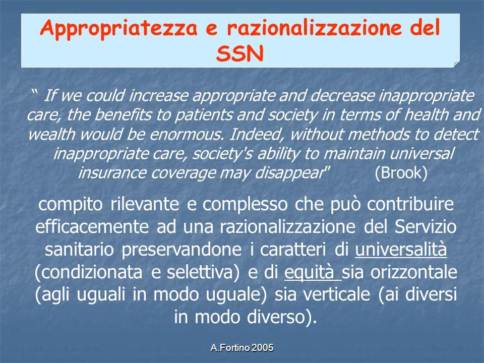 Appropriatezza e razionalizzazione del SSN