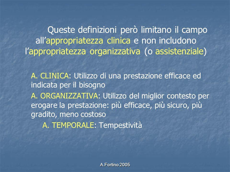 Queste definizioni però limitano il campo all'appropriatezza clinica e non includono l'appropriatezza organizzativa (o assistenziale)