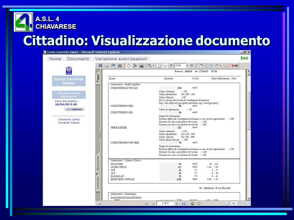 Cittadino: Visualizzazione documento