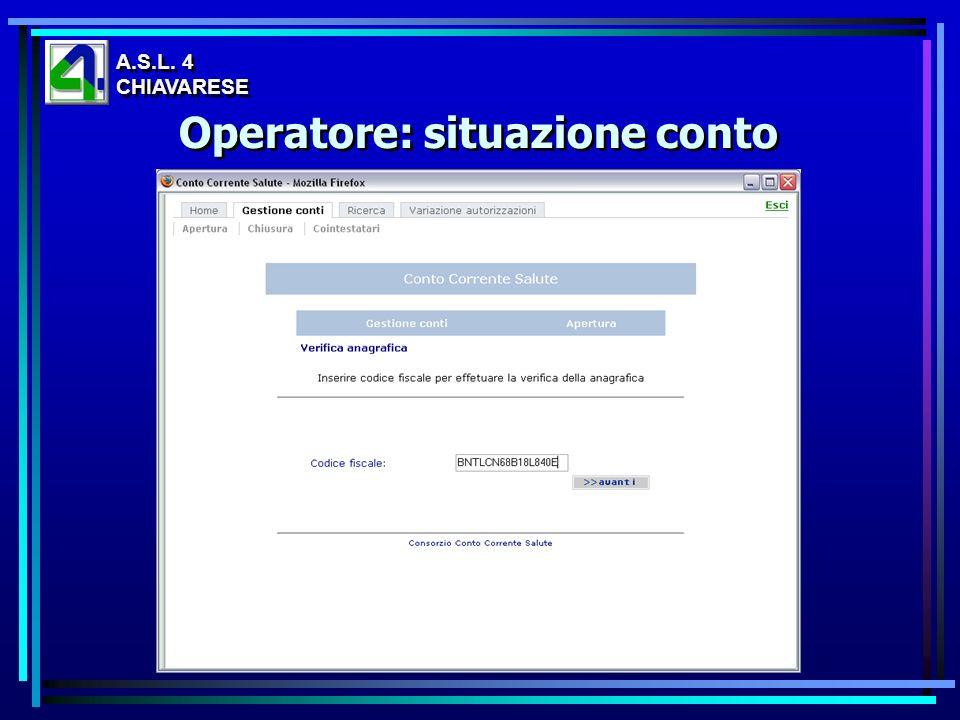 Operatore: situazione conto