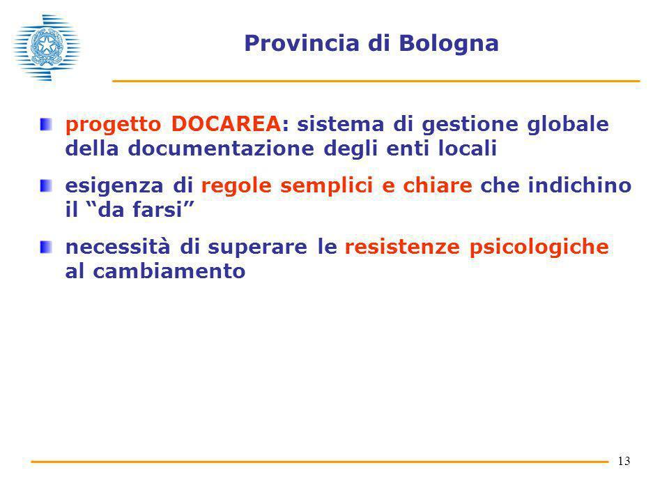 Provincia di Bologna progetto DOCAREA: sistema di gestione globale della documentazione degli enti locali.
