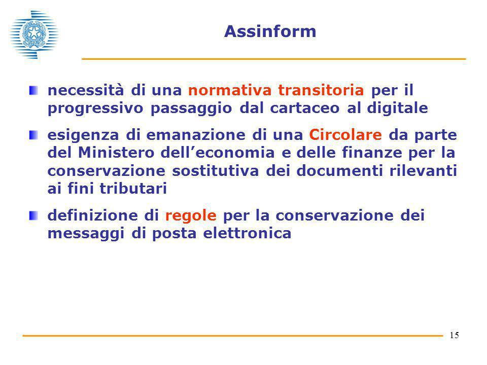 Assinform necessità di una normativa transitoria per il progressivo passaggio dal cartaceo al digitale.
