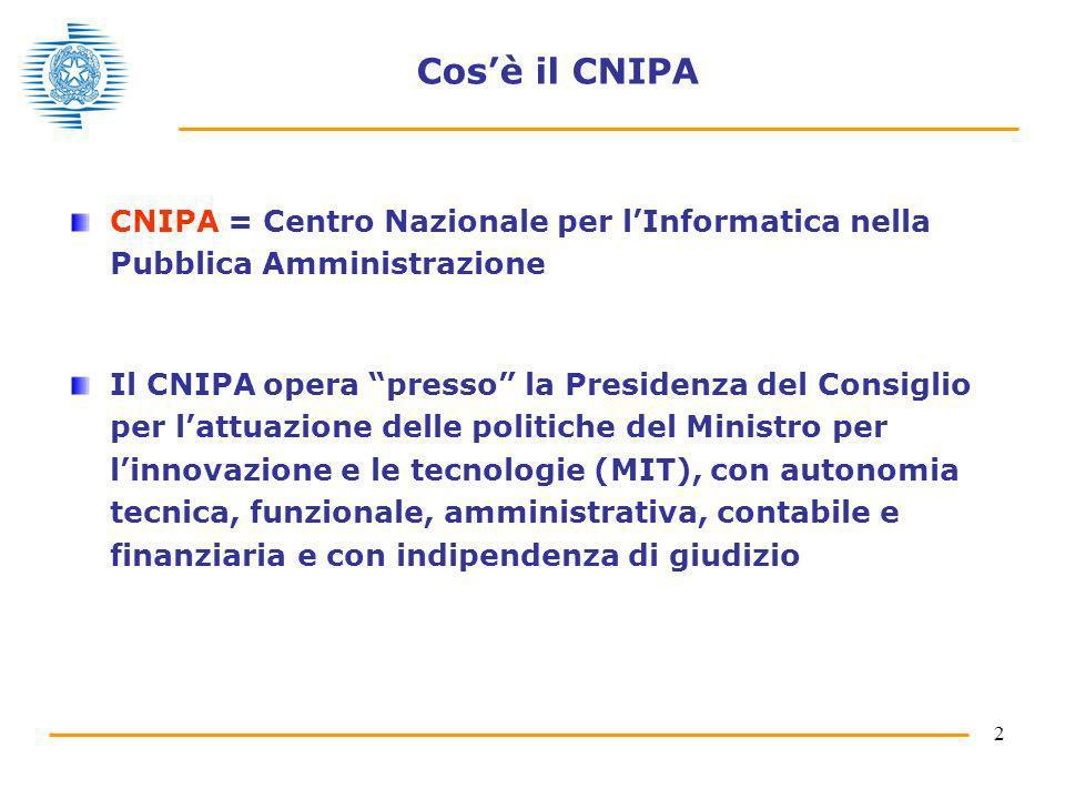 Cos'è il CNIPA CNIPA = Centro Nazionale per l'Informatica nella Pubblica Amministrazione.
