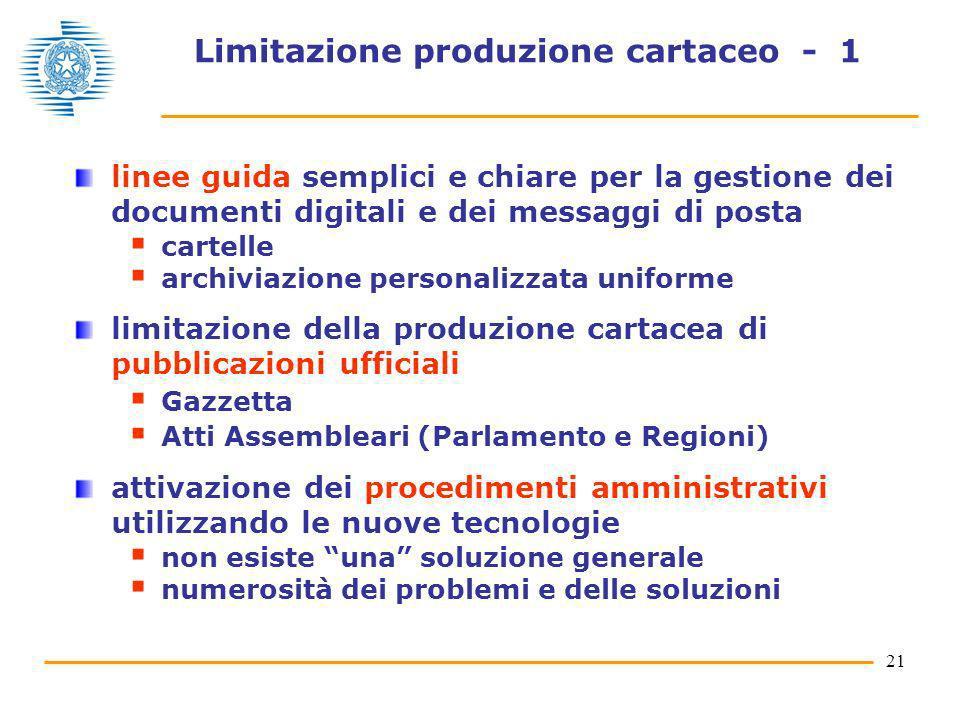 Limitazione produzione cartaceo - 1