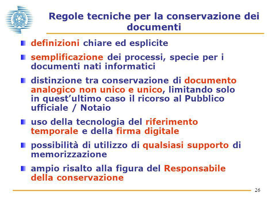 Regole tecniche per la conservazione dei documenti