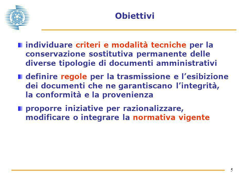 Obiettivi individuare criteri e modalità tecniche per la conservazione sostitutiva permanente delle diverse tipologie di documenti amministrativi.