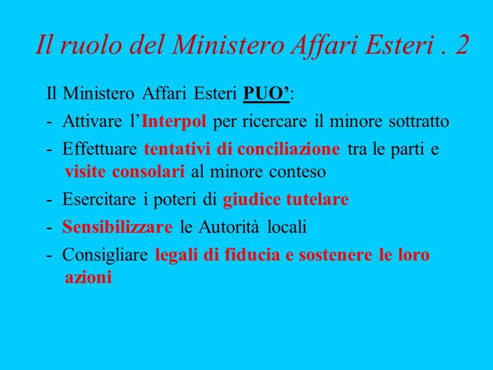 Il ruolo del Ministero Affari Esteri . 2