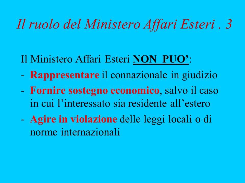 Il ruolo del Ministero Affari Esteri . 3