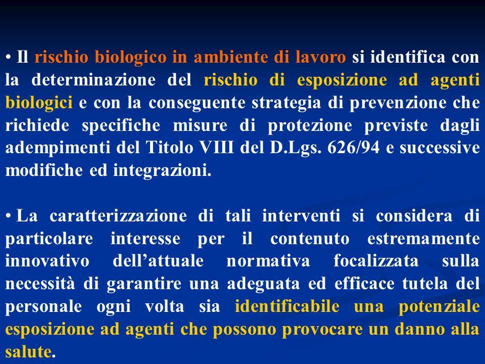Il rischio biologico in ambiente di lavoro si identifica con la determinazione del rischio di esposizione ad agenti biologici e con la conseguente strategia di prevenzione che richiede specifiche misure di protezione previste dagli adempimenti del Titolo VIII del D.Lgs. 626/94 e successive modifiche ed integrazioni.