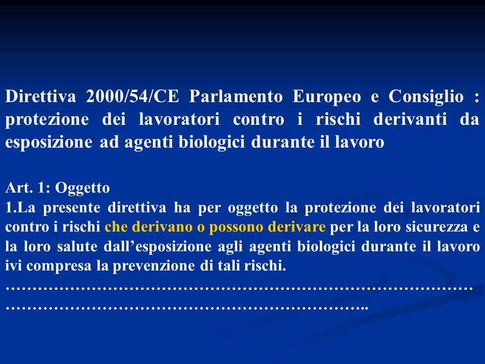 Direttiva 2000/54/CE Parlamento Europeo e Consiglio : protezione dei lavoratori contro i rischi derivanti da esposizione ad agenti biologici durante il lavoro