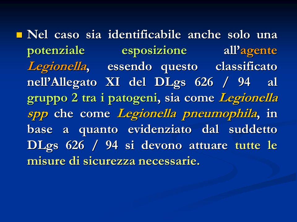 Nel caso sia identificabile anche solo una potenziale esposizione all'agente Legionella, essendo questo classificato nell'Allegato XI del DLgs 626 / 94 al gruppo 2 tra i patogeni, sia come Legionella spp che come Legionella pneumophila, in base a quanto evidenziato dal suddetto DLgs 626 / 94 si devono attuare tutte le misure di sicurezza necessarie.