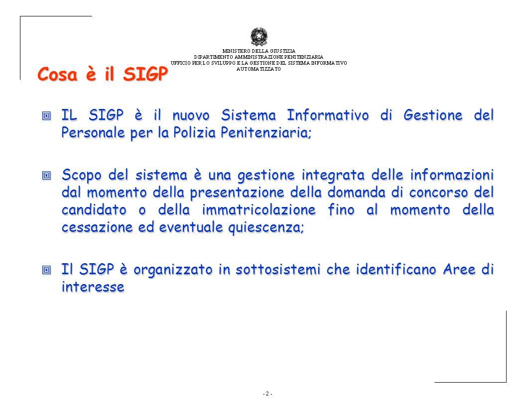 Cosa è il SIGP IL SIGP è il nuovo Sistema Informativo di Gestione del Personale per la Polizia Penitenziaria;