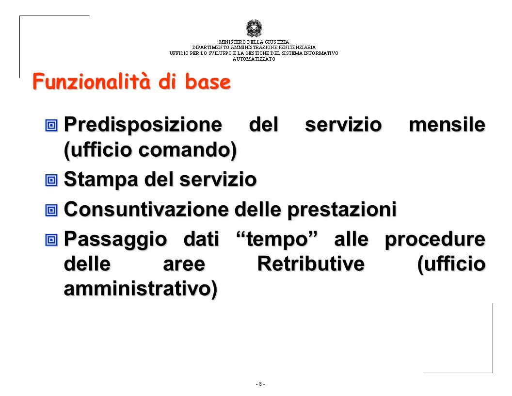 Funzionalità di base Predisposizione del servizio mensile (ufficio comando) Stampa del servizio. Consuntivazione delle prestazioni.