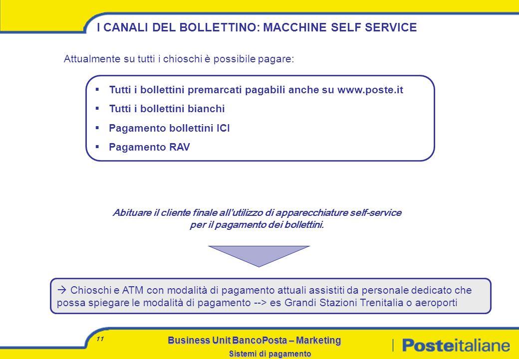 I CANALI DEL BOLLETTINO: MACCHINE SELF SERVICE
