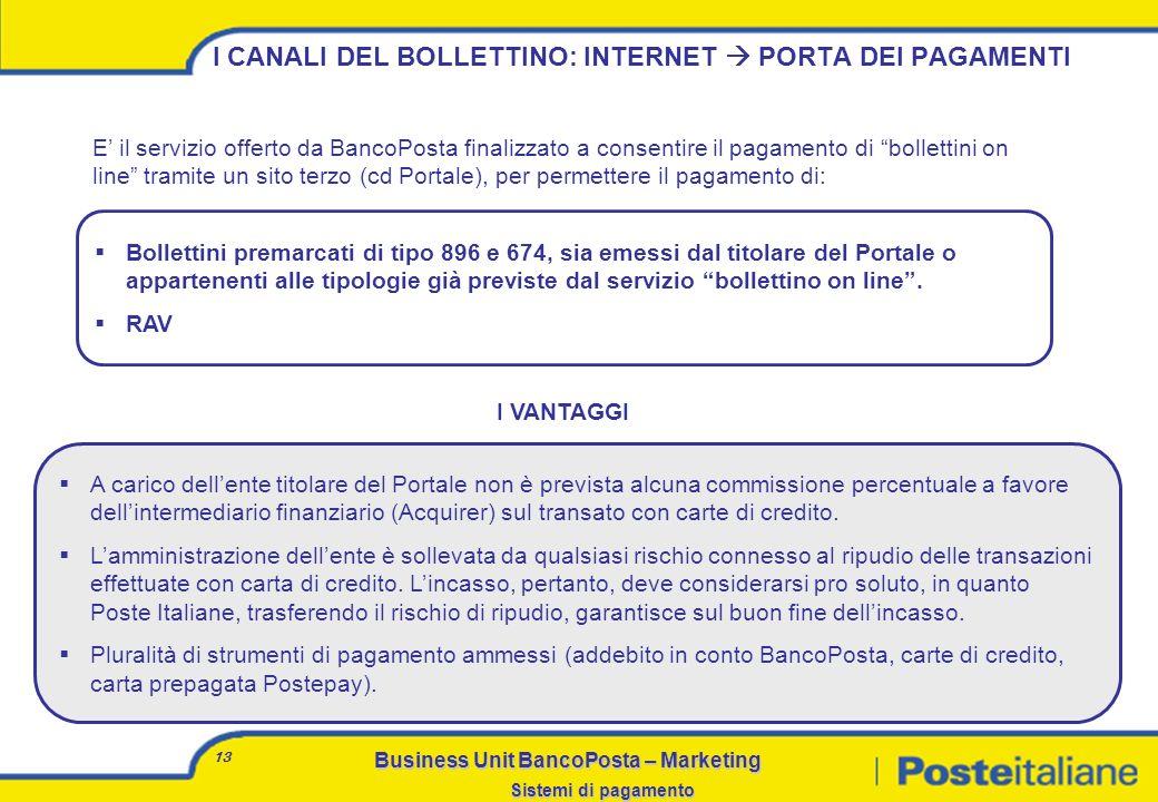 I CANALI DEL BOLLETTINO: INTERNET  PORTA DEI PAGAMENTI