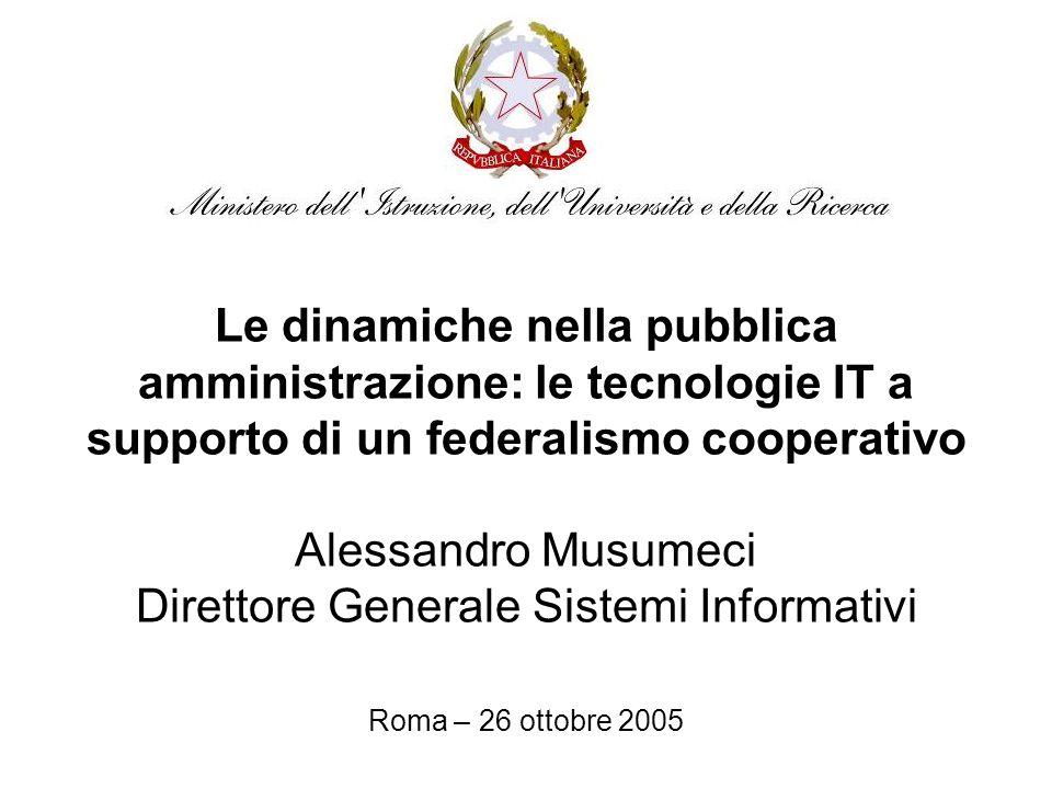 Le dinamiche nella pubblica amministrazione: le tecnologie IT a supporto di un federalismo cooperativo Alessandro Musumeci Direttore Generale Sistemi Informativi Roma – 26 ottobre 2005