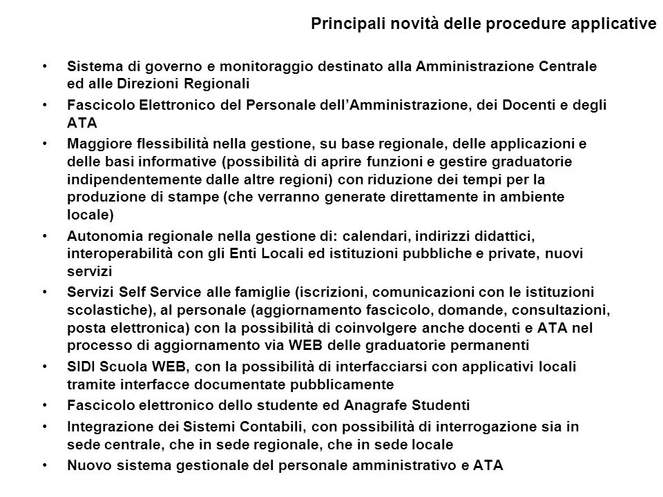 Principali novità delle procedure applicative