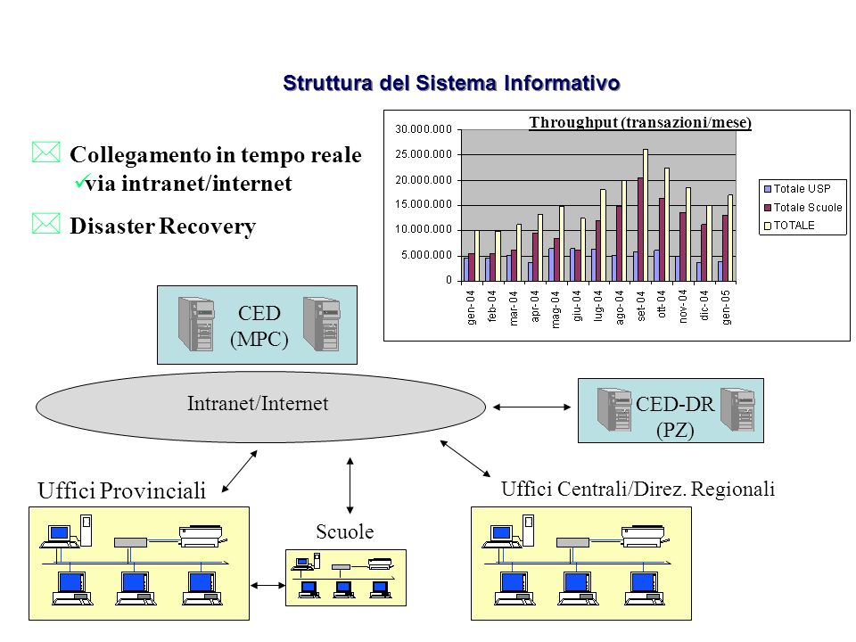Struttura del Sistema Informativo Throughput (transazioni/mese)