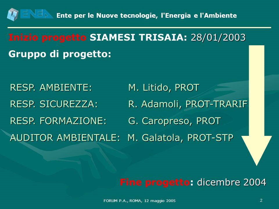 Inizio progetto SIAMESI TRISAIA: 28/01/2003 Gruppo di progetto: