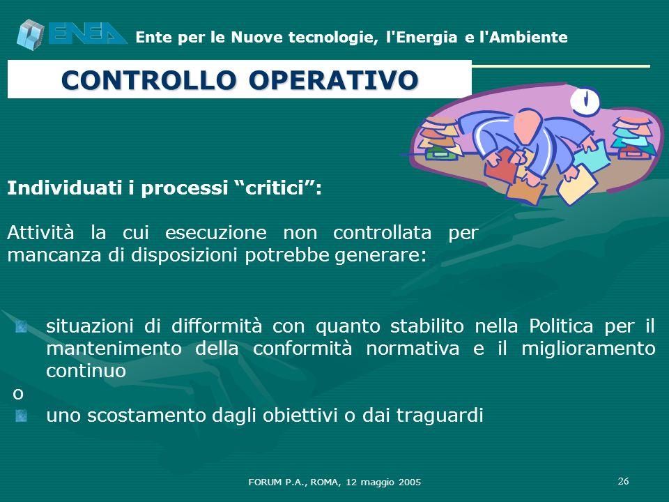 CONTROLLO OPERATIVO Individuati i processi critici :