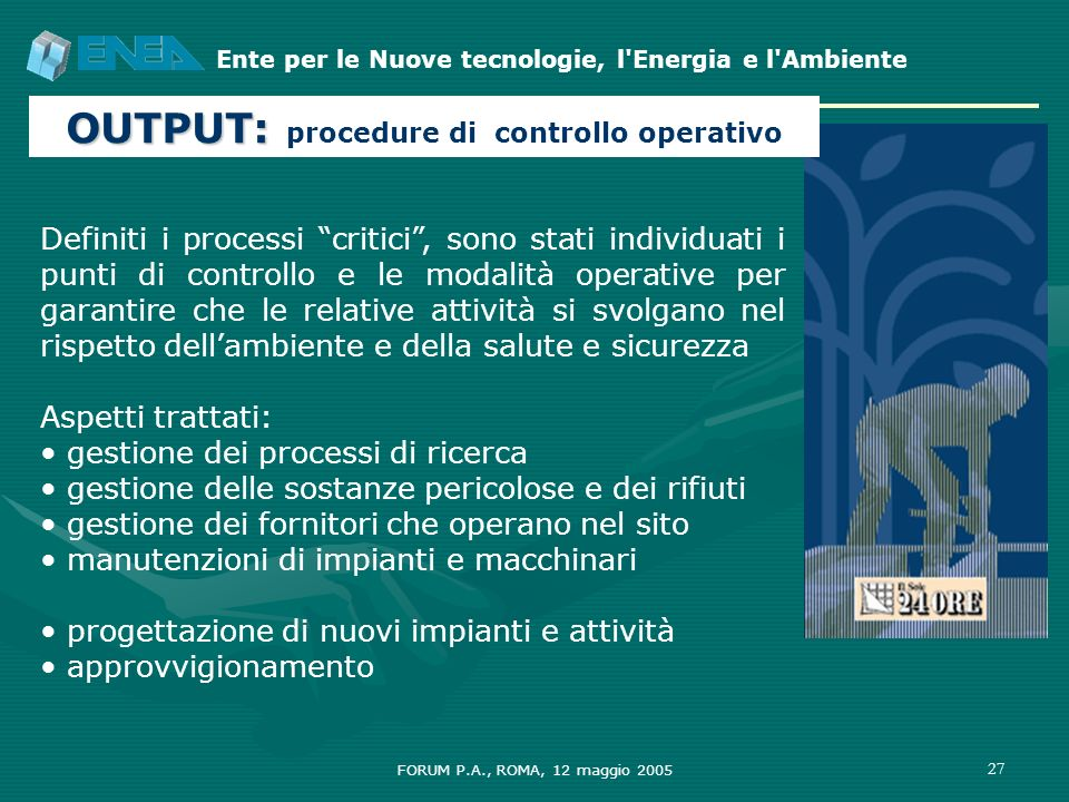 OUTPUT: procedure di controllo operativo