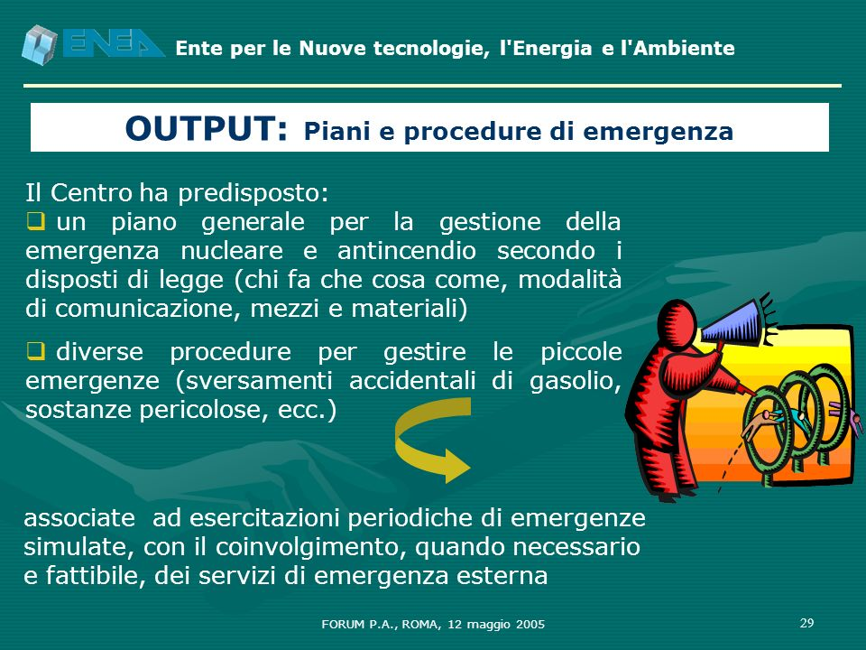 OUTPUT: Piani e procedure di emergenza