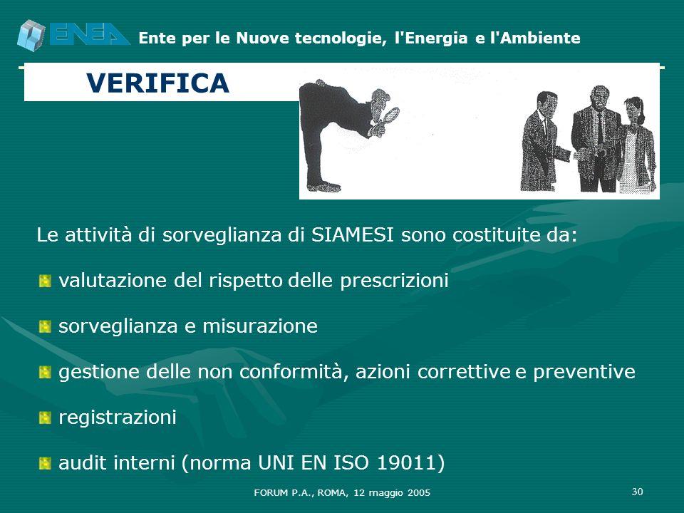VERIFICA Le attività di sorveglianza di SIAMESI sono costituite da: