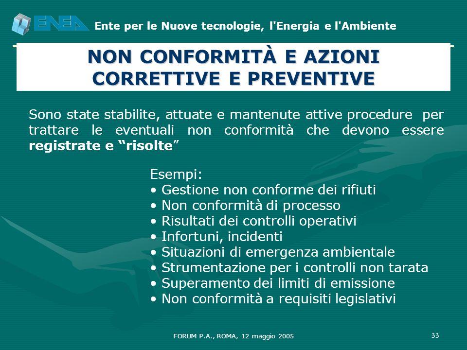 NON CONFORMITÀ E AZIONI CORRETTIVE E PREVENTIVE