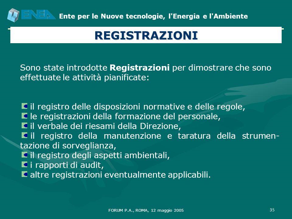 REGISTRAZIONI Sono state introdotte Registrazioni per dimostrare che sono effettuate le attività pianificate: