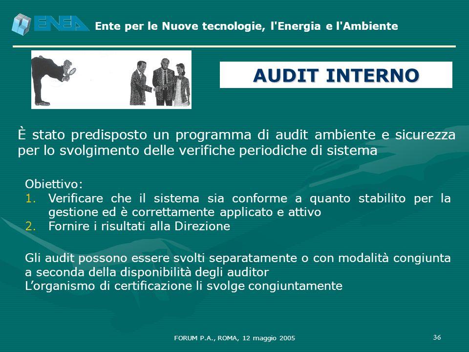 AUDIT INTERNO È stato predisposto un programma di audit ambiente e sicurezza per lo svolgimento delle verifiche periodiche di sistema.