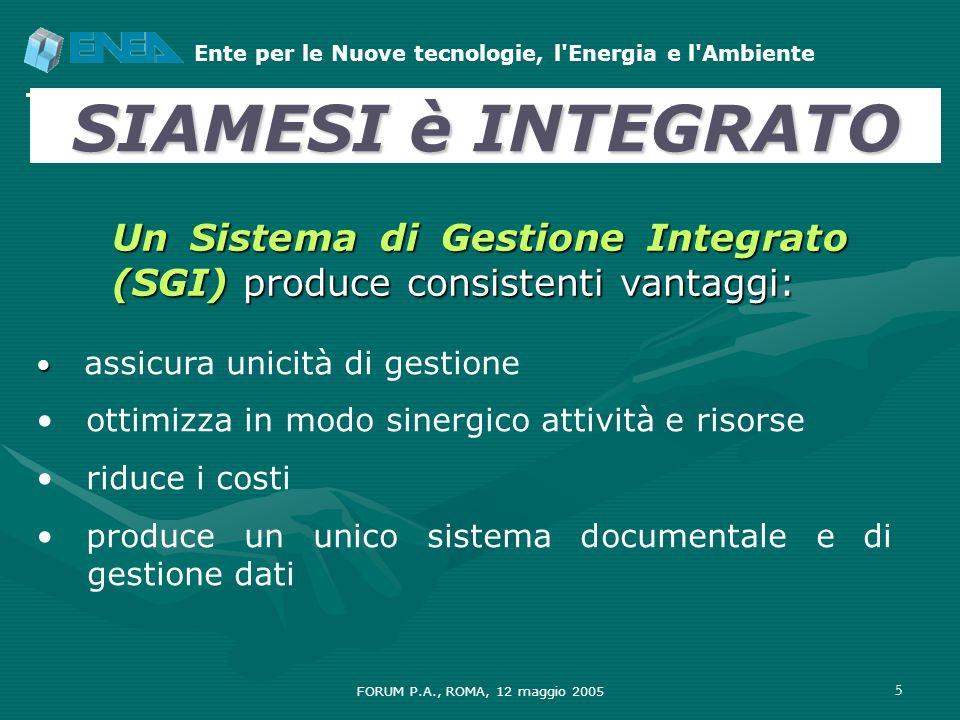 SIAMESI è INTEGRATO Un Sistema di Gestione Integrato (SGI) produce consistenti vantaggi: assicura unicità di gestione.