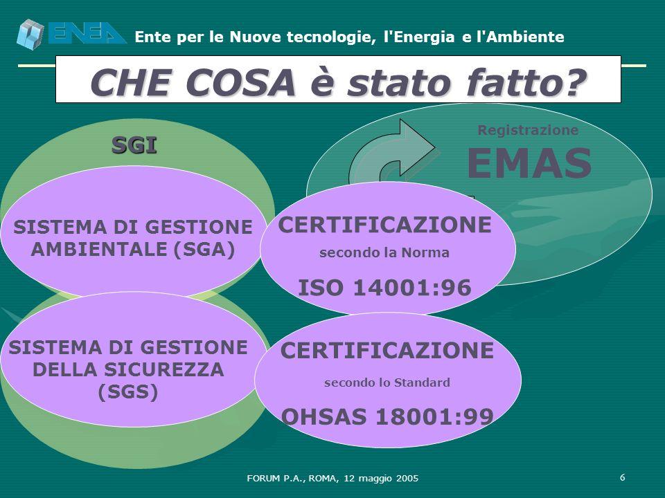 CHE COSA è stato fatto SGI CERTIFICAZIONE ISO 14001:96 CERTIFICAZIONE