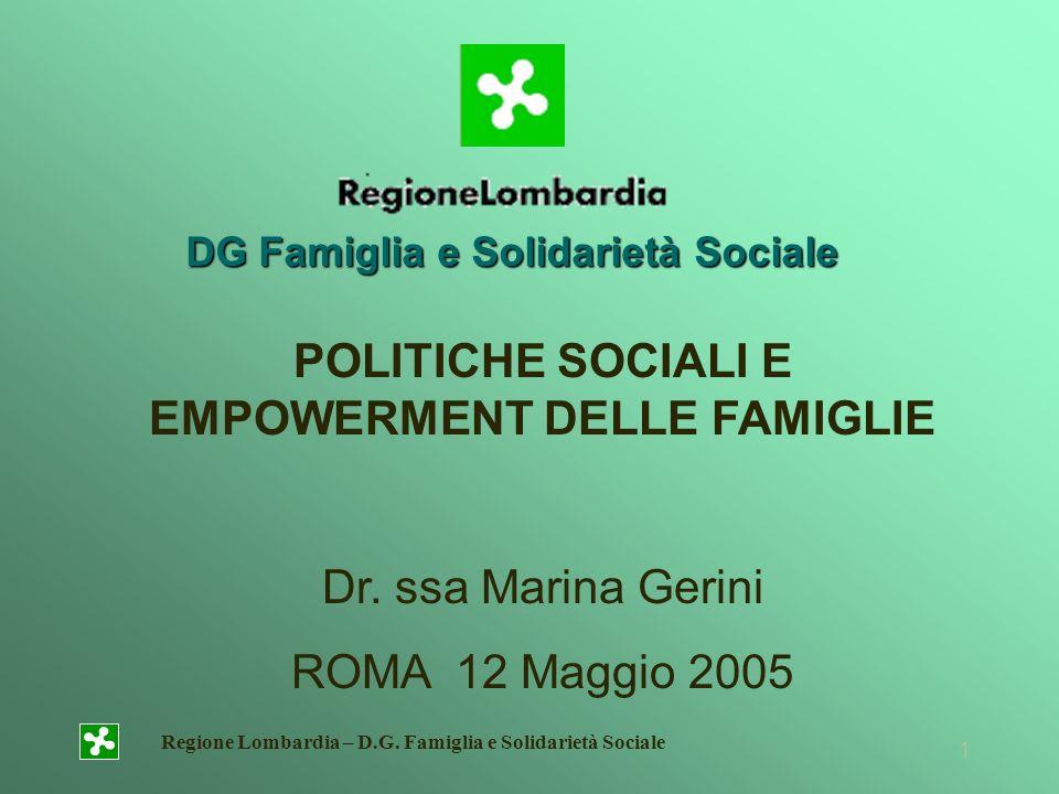 POLITICHE SOCIALI E EMPOWERMENT DELLE FAMIGLIE