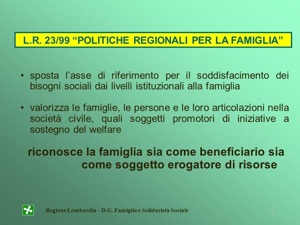 L.R. 23/99 POLITICHE REGIONALI PER LA FAMIGLIA