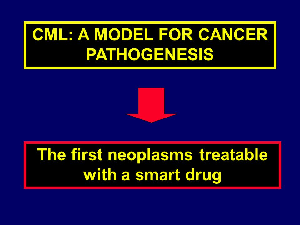 CML: A MODEL FOR CANCER PATHOGENESIS The first neoplasms treatable