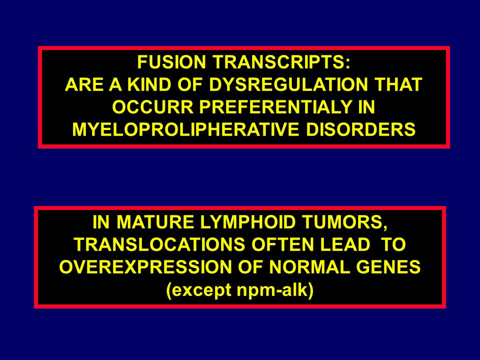 FUSION TRANSCRIPTS: ARE A KIND OF DYSREGULATION THAT OCCURR PREFERENTIALY IN MYELOPROLIPHERATIVE DISORDERS.