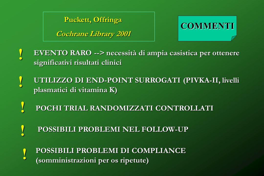 ! ! ! ! ! COMMENTI Puckett, Offringa Cochrane Library 2001