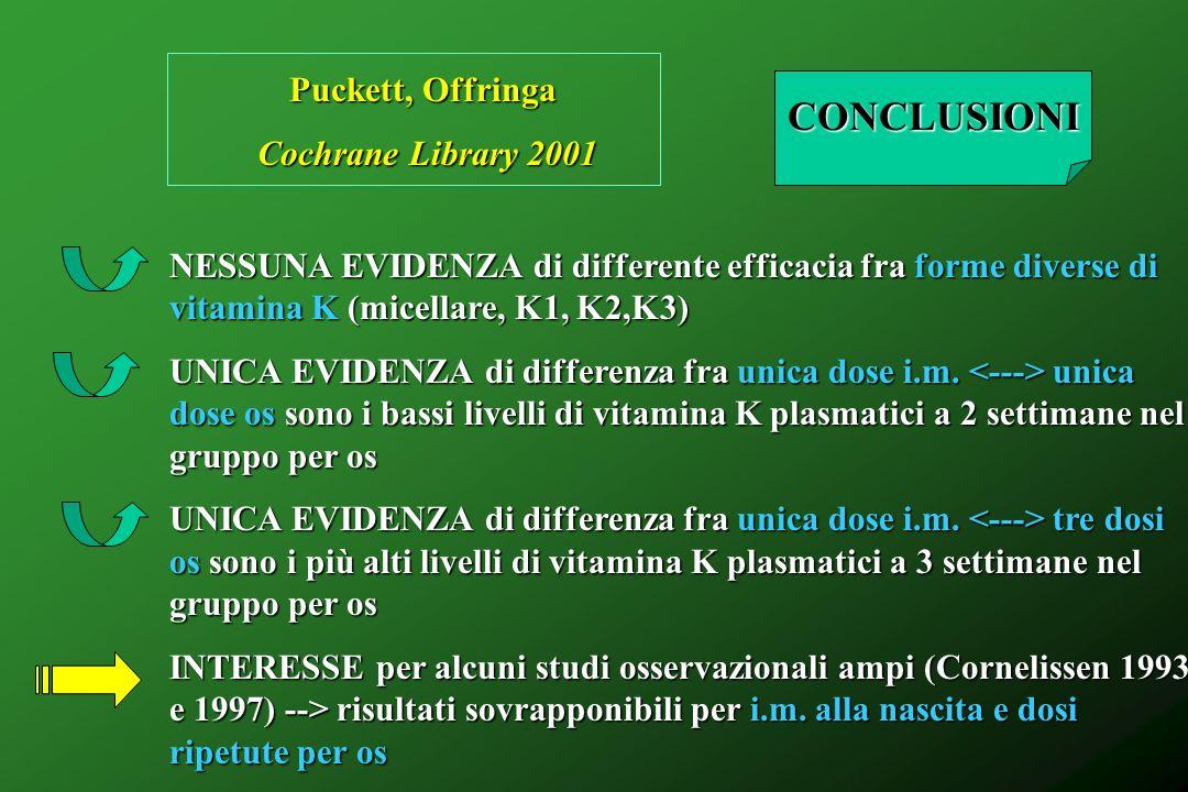 CONCLUSIONI Puckett, Offringa Cochrane Library 2001