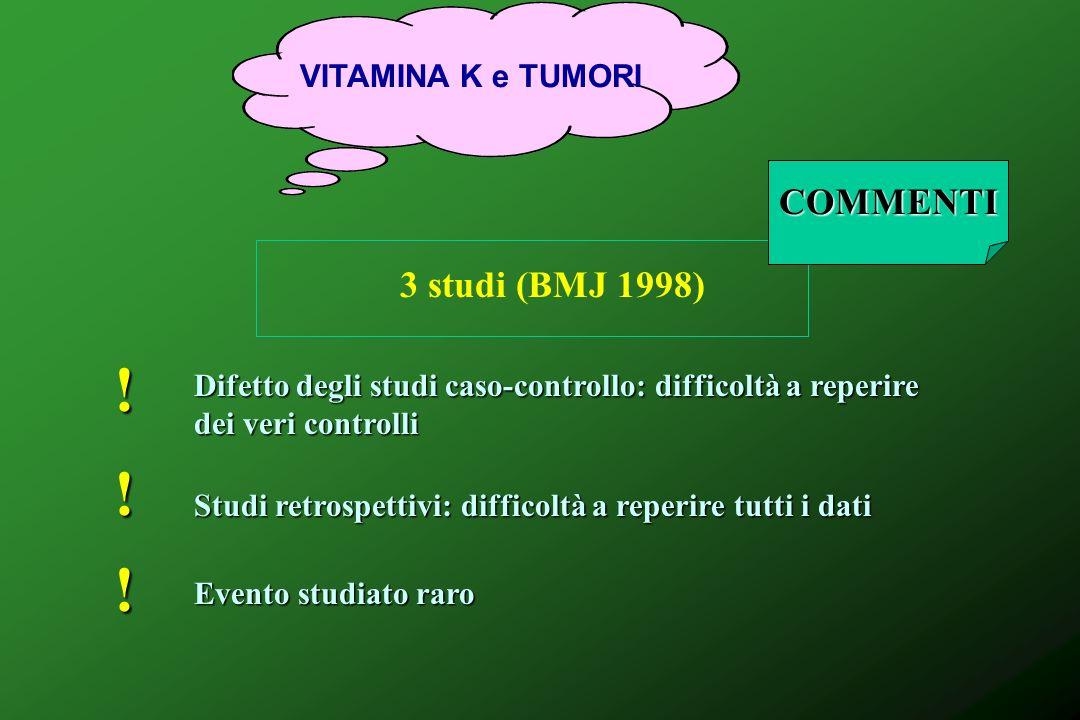 ! ! ! COMMENTI 3 studi (BMJ 1998) VITAMINA K e TUMORI