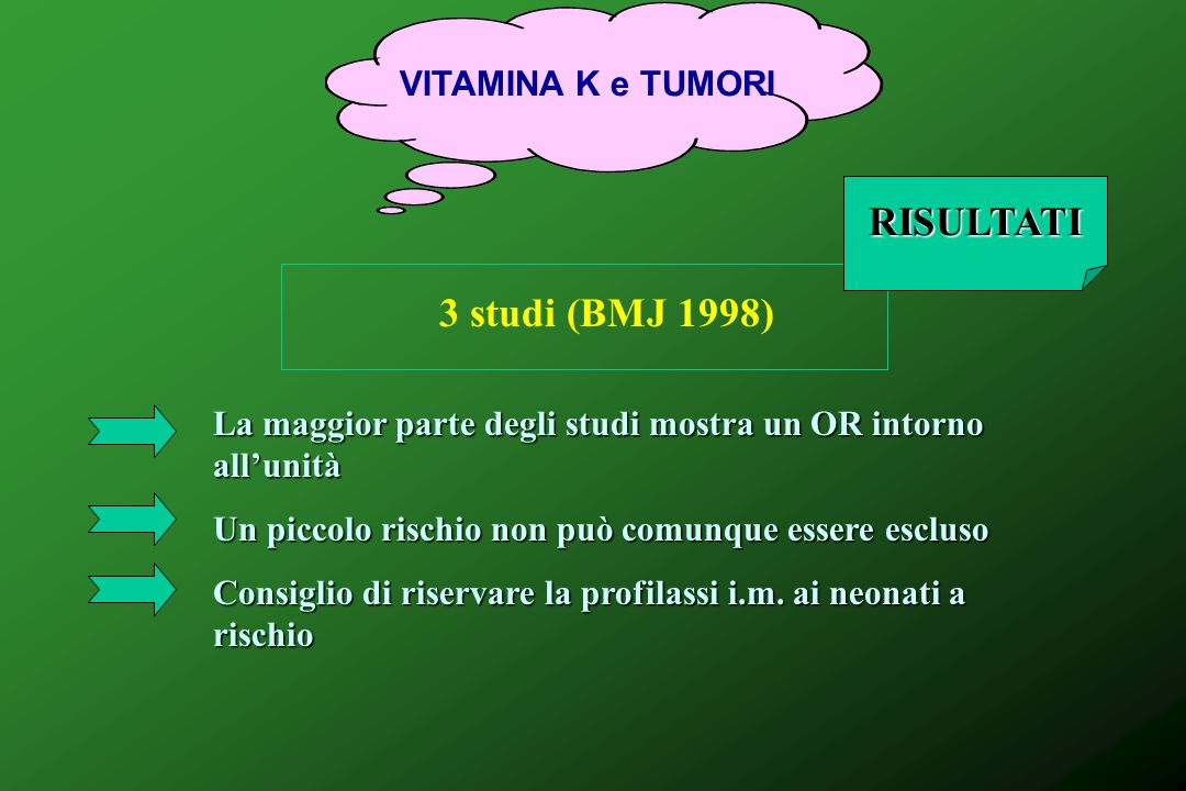 RISULTATI 3 studi (BMJ 1998) VITAMINA K e TUMORI