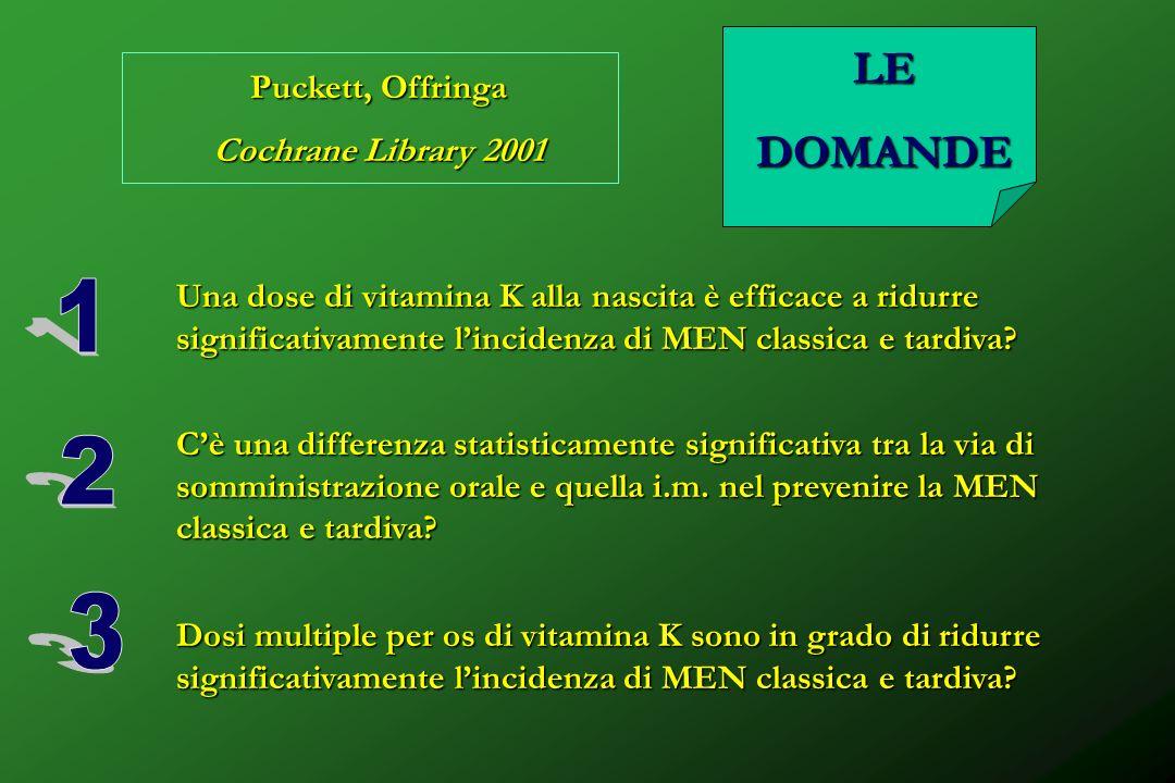 1 2 3 LE DOMANDE Puckett, Offringa Cochrane Library 2001